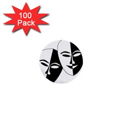 Theatermasken Masks Theater Happy 1  Mini Buttons (100 Pack)