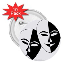 Theatermasken Masks Theater Happy 2 25  Buttons (10 Pack)