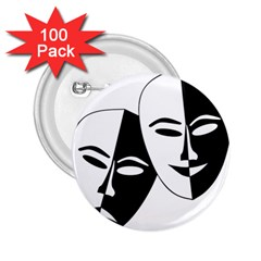 Theatermasken Masks Theater Happy 2 25  Buttons (100 Pack)