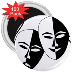 Theatermasken Masks Theater Happy 3  Magnets (100 pack)