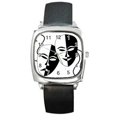 Theatermasken Masks Theater Happy Square Metal Watch