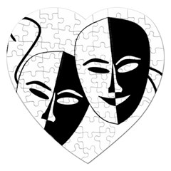Theatermasken Masks Theater Happy Jigsaw Puzzle (Heart)