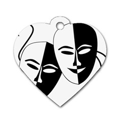Theatermasken Masks Theater Happy Dog Tag Heart (two Sides)