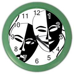 Theatermasken Masks Theater Happy Color Wall Clocks