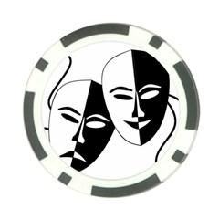 Theatermasken Masks Theater Happy Poker Chip Card Guard