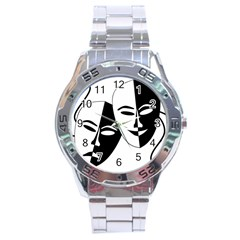 Theatermasken Masks Theater Happy Stainless Steel Analogue Watch