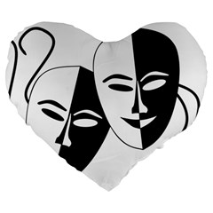 Theatermasken Masks Theater Happy Large 19  Premium Heart Shape Cushions