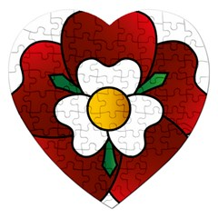 Flower Rose Glass Church Window Jigsaw Puzzle (heart)