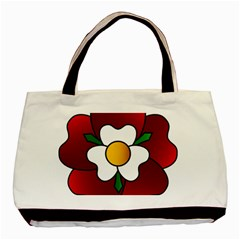 Flower Rose Glass Church Window Basic Tote Bag (two Sides)