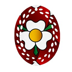 Flower Rose Glass Church Window Oval Filigree Ornament (Two Sides)