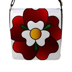 Flower Rose Glass Church Window Flap Messenger Bag (l)