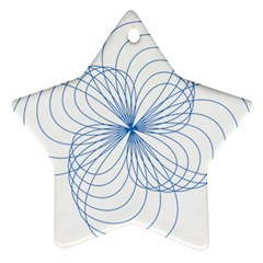 Blue Spirograph Pattern Drawing Design Ornament (star)