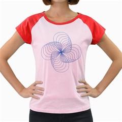 Blue Spirograph Pattern Drawing Design Women s Cap Sleeve T-Shirt