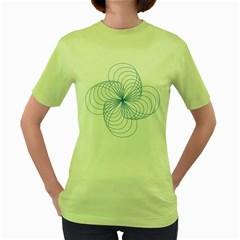 Blue Spirograph Pattern Drawing Design Women s Green T-Shirt