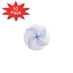 Blue Spirograph Pattern Drawing Design 1  Mini Magnet (10 Pack)