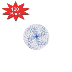 Blue Spirograph Pattern Drawing Design 1  Mini Buttons (100 Pack)