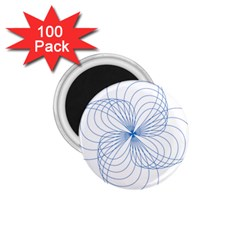 Blue Spirograph Pattern Drawing Design 1 75  Magnets (100 Pack)