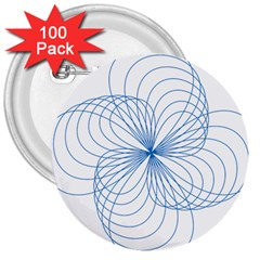 Blue Spirograph Pattern Drawing Design 3  Buttons (100 pack)