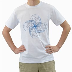 Blue Spirograph Pattern Drawing Design Men s T-Shirt (White) (Two Sided)