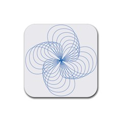 Blue Spirograph Pattern Drawing Design Rubber Coaster (square)