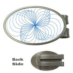 Blue Spirograph Pattern Drawing Design Money Clips (oval)