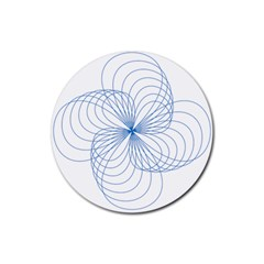 Blue Spirograph Pattern Drawing Design Rubber Round Coaster (4 Pack)
