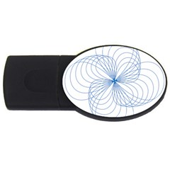 Blue Spirograph Pattern Drawing Design USB Flash Drive Oval (2 GB)