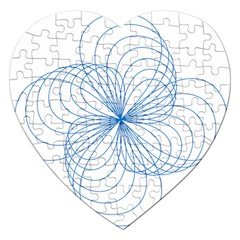 Blue Spirograph Pattern Drawing Design Jigsaw Puzzle (heart)