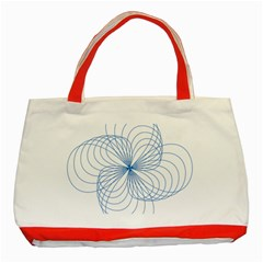 Blue Spirograph Pattern Drawing Design Classic Tote Bag (red)