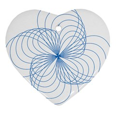 Blue Spirograph Pattern Drawing Design Heart Ornament (two Sides)