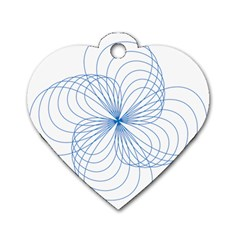 Blue Spirograph Pattern Drawing Design Dog Tag Heart (one Side)