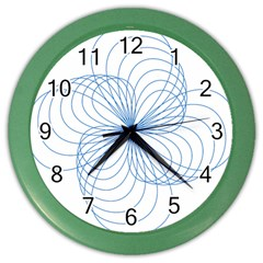 Blue Spirograph Pattern Drawing Design Color Wall Clocks