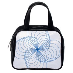 Blue Spirograph Pattern Drawing Design Classic Handbags (one Side)