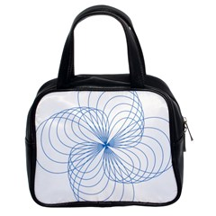 Blue Spirograph Pattern Drawing Design Classic Handbags (2 Sides)