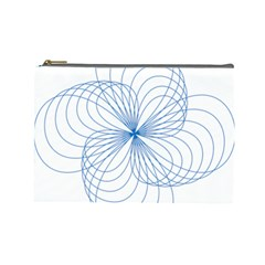 Blue Spirograph Pattern Drawing Design Cosmetic Bag (Large)