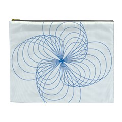 Blue Spirograph Pattern Drawing Design Cosmetic Bag (XL)