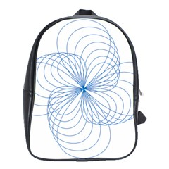 Blue Spirograph Pattern Drawing Design School Bags(Large)