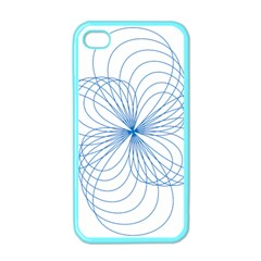 Blue Spirograph Pattern Drawing Design Apple Iphone 4 Case (color)
