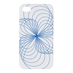 Blue Spirograph Pattern Drawing Design Apple iPhone 4/4S Premium Hardshell Case