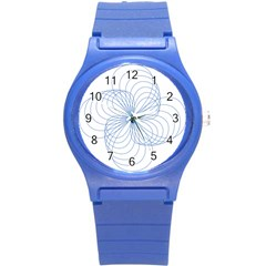 Blue Spirograph Pattern Drawing Design Round Plastic Sport Watch (s)