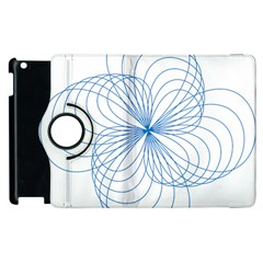 Blue Spirograph Pattern Drawing Design Apple iPad 3/4 Flip 360 Case