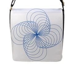 Blue Spirograph Pattern Drawing Design Flap Messenger Bag (L)