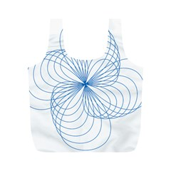 Blue Spirograph Pattern Drawing Design Full Print Recycle Bags (m)