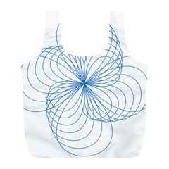 Blue Spirograph Pattern Drawing Design Full Print Recycle Bags (l)
