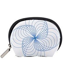 Blue Spirograph Pattern Drawing Design Accessory Pouches (Small)