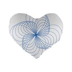 Blue Spirograph Pattern Drawing Design Standard 16  Premium Flano Heart Shape Cushions