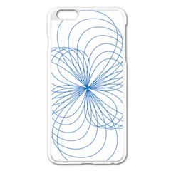 Blue Spirograph Pattern Drawing Design Apple iPhone 6 Plus/6S Plus Enamel White Case