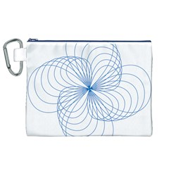 Blue Spirograph Pattern Drawing Design Canvas Cosmetic Bag (xl)