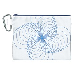 Blue Spirograph Pattern Drawing Design Canvas Cosmetic Bag (xxl)