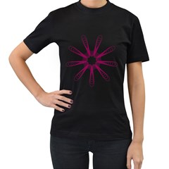 Spirograph Pattern Circle Design Women s T Shirt (black) (two Sided)